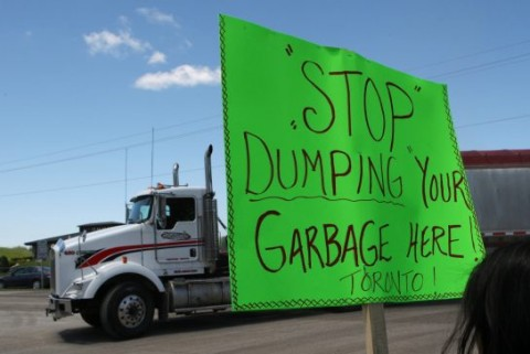 Few other issues have the potential to generate street protests from residents than announcing a planned landfill or other waste disposal facility; Image: Residents of Southwold Township protesting against landfilling Toronto's waste in their backyard; Source: thestar.com