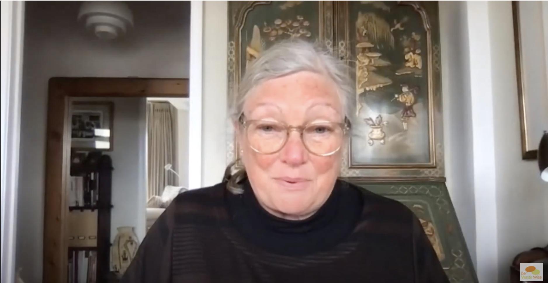Jo Beall speaks in a webinar about waste as a resource