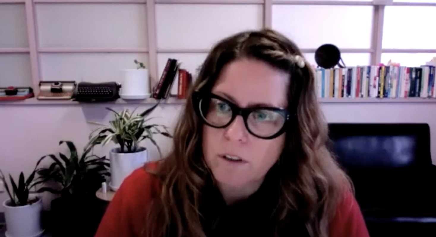 Screenshot of Niki Wallace in the webinar on Design and Consumption for the Circular Economy