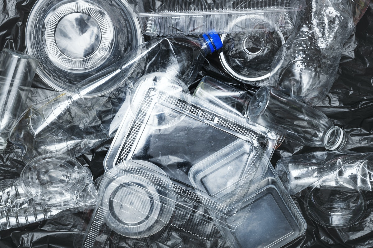 Plastic containers cleaned before recycling