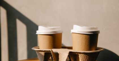Two coffee cups on a table