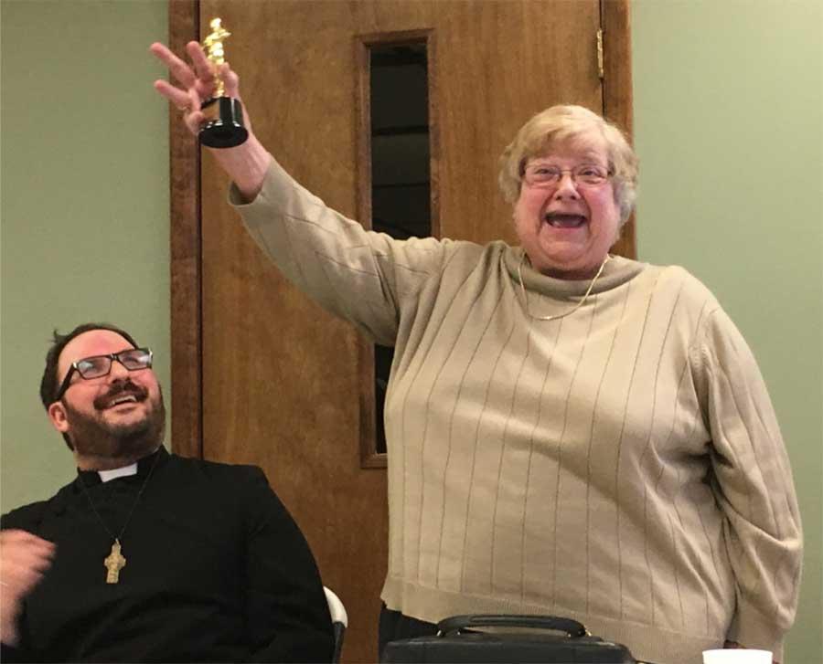 """Best Haggler Award"""" is Junior Warden Barb Pertz."""