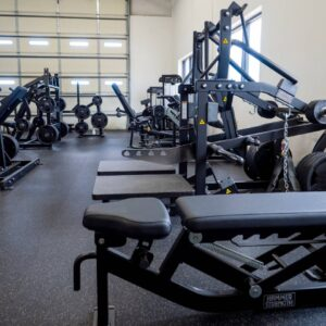 Gym with weight training machines