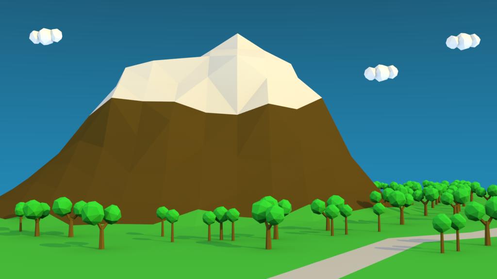 Lowpoly mountain scene
