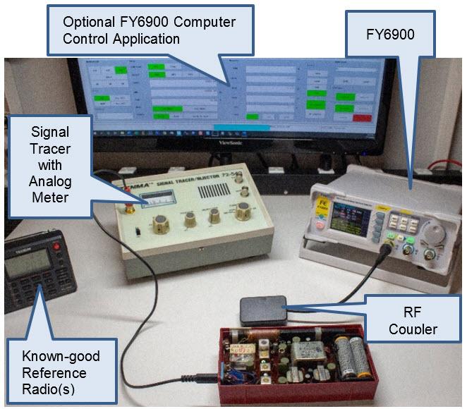 Typical transistor radio alignment bench setup