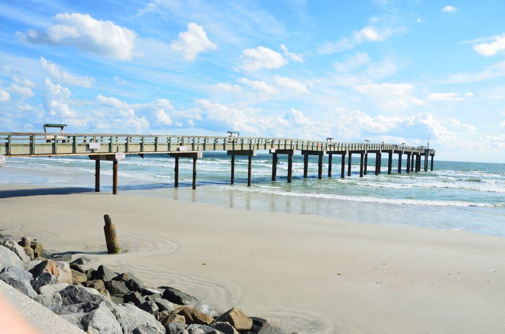 Beach front pier