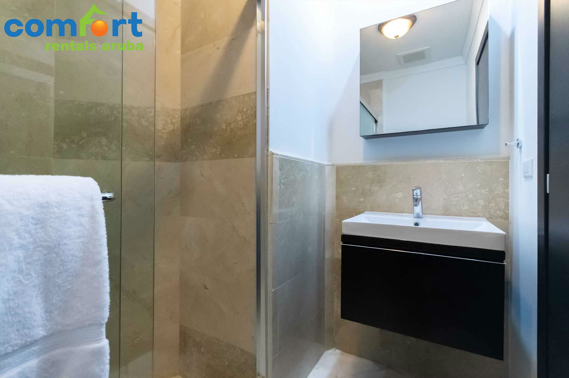 Master bathroom with a shower