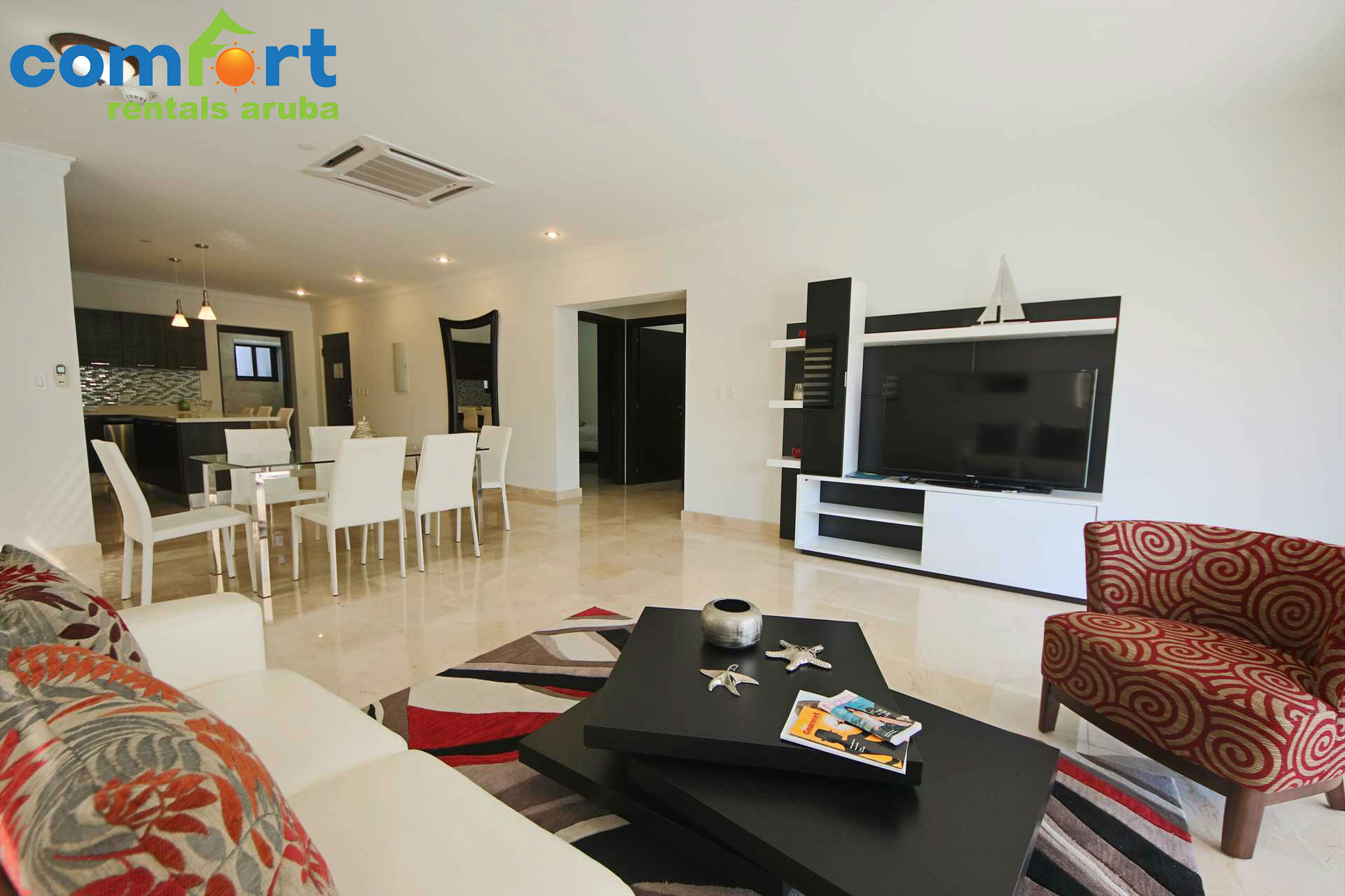 Living and dining area with open kitchen!