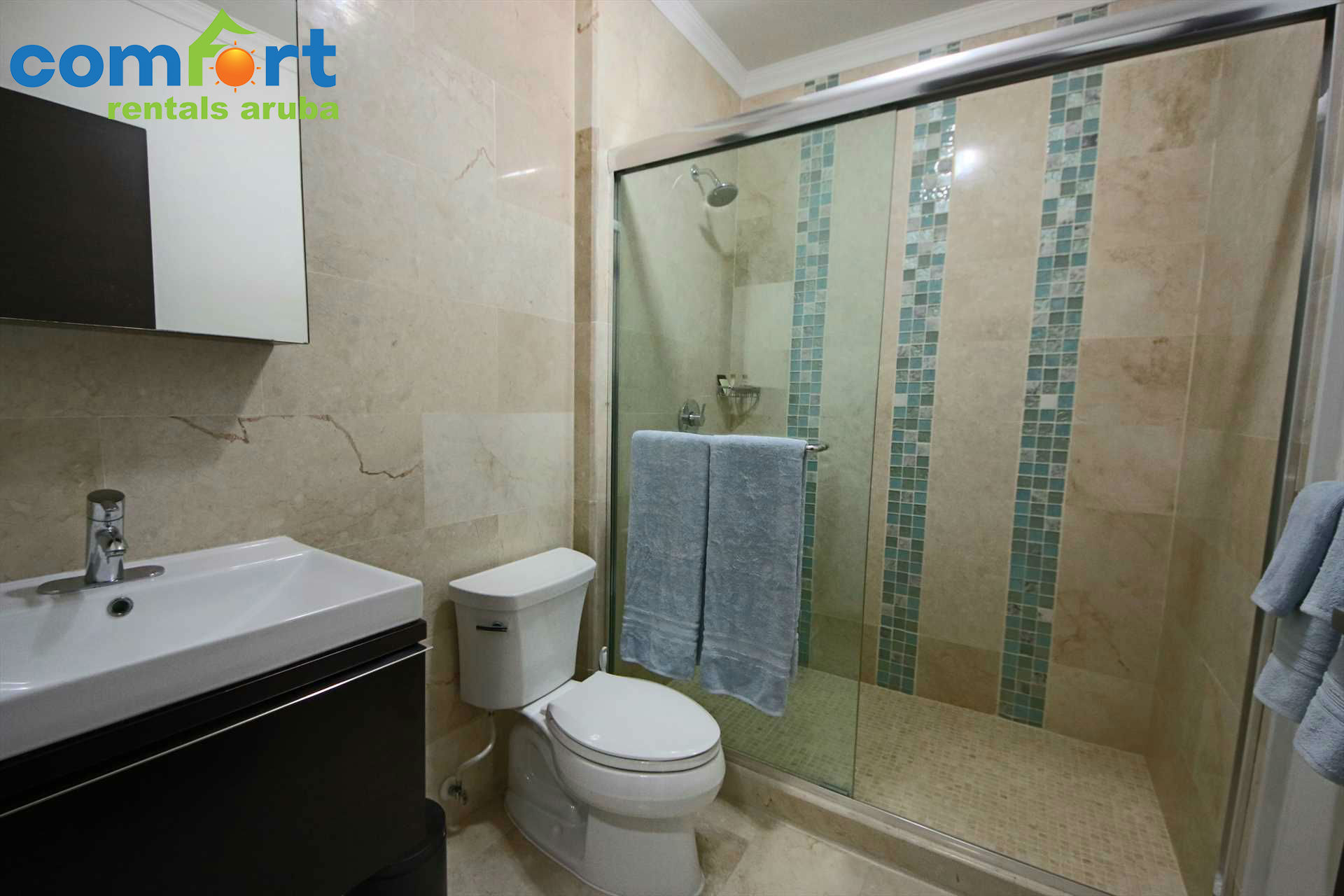 Master bathroom is a fully equipped modern bathroom with shower