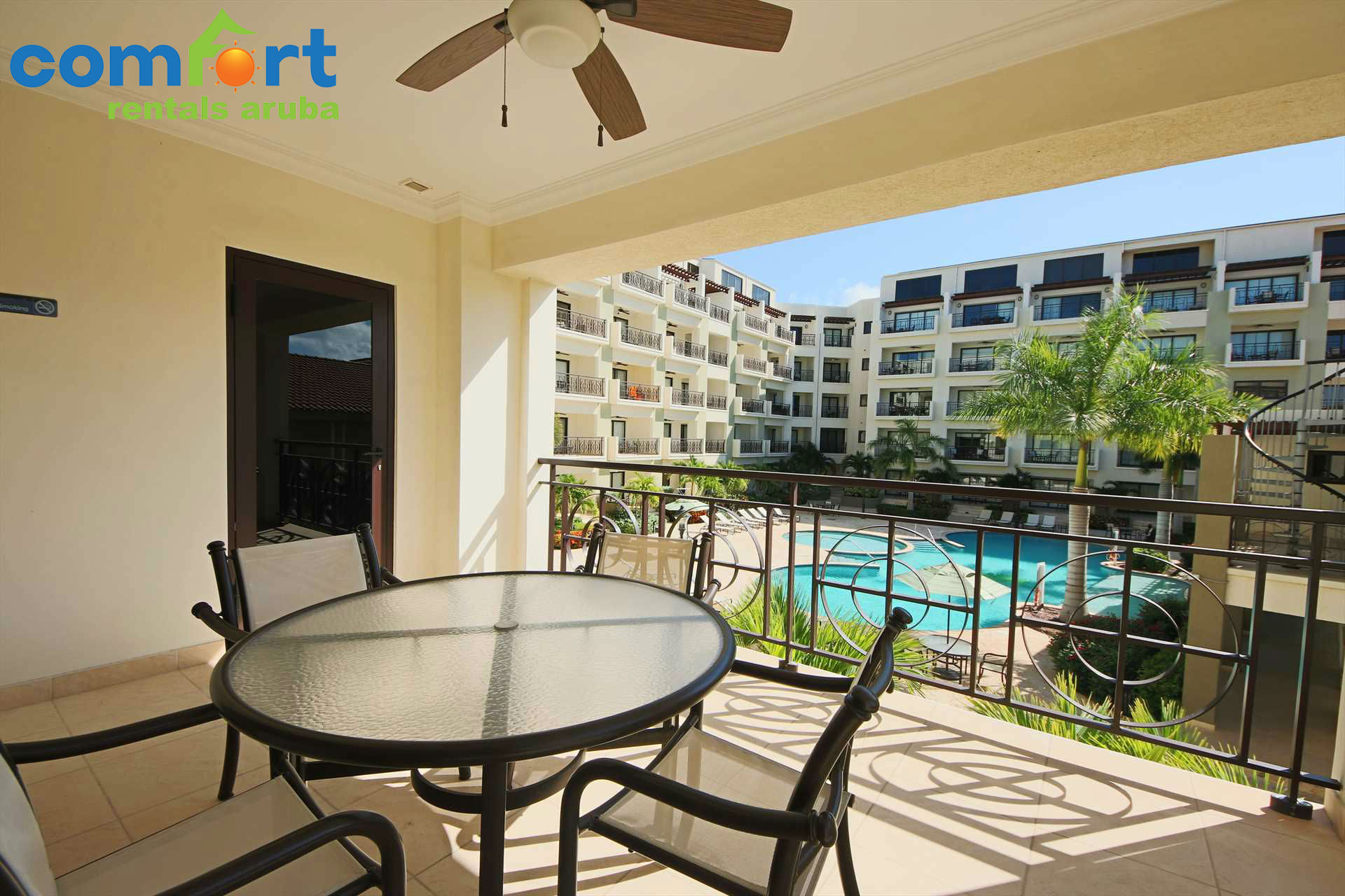 Sit on your spacious balcony and enjoy your amazing pool view!