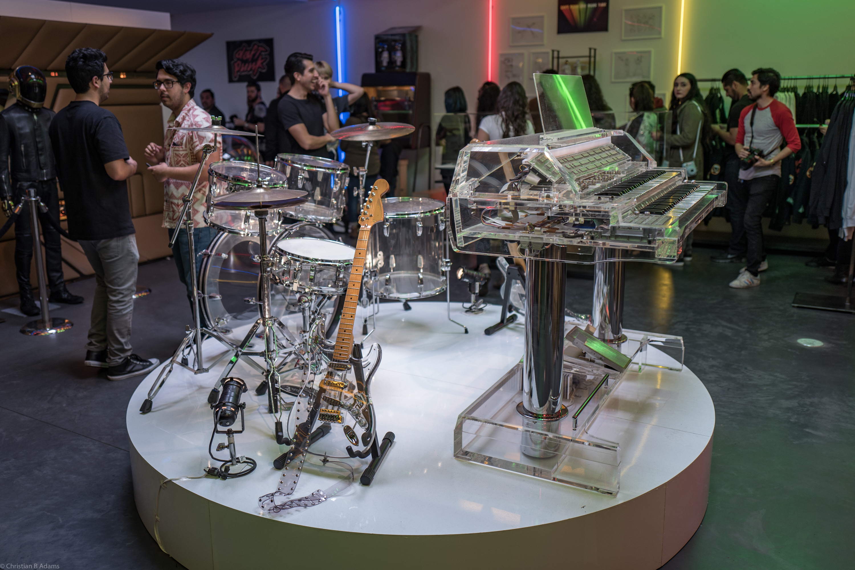 The band kit used in music videos and other promos for Random Access Memories at the Daft Punk Pop Up at Maxfield Gallery Los Angeles in February of 2017.