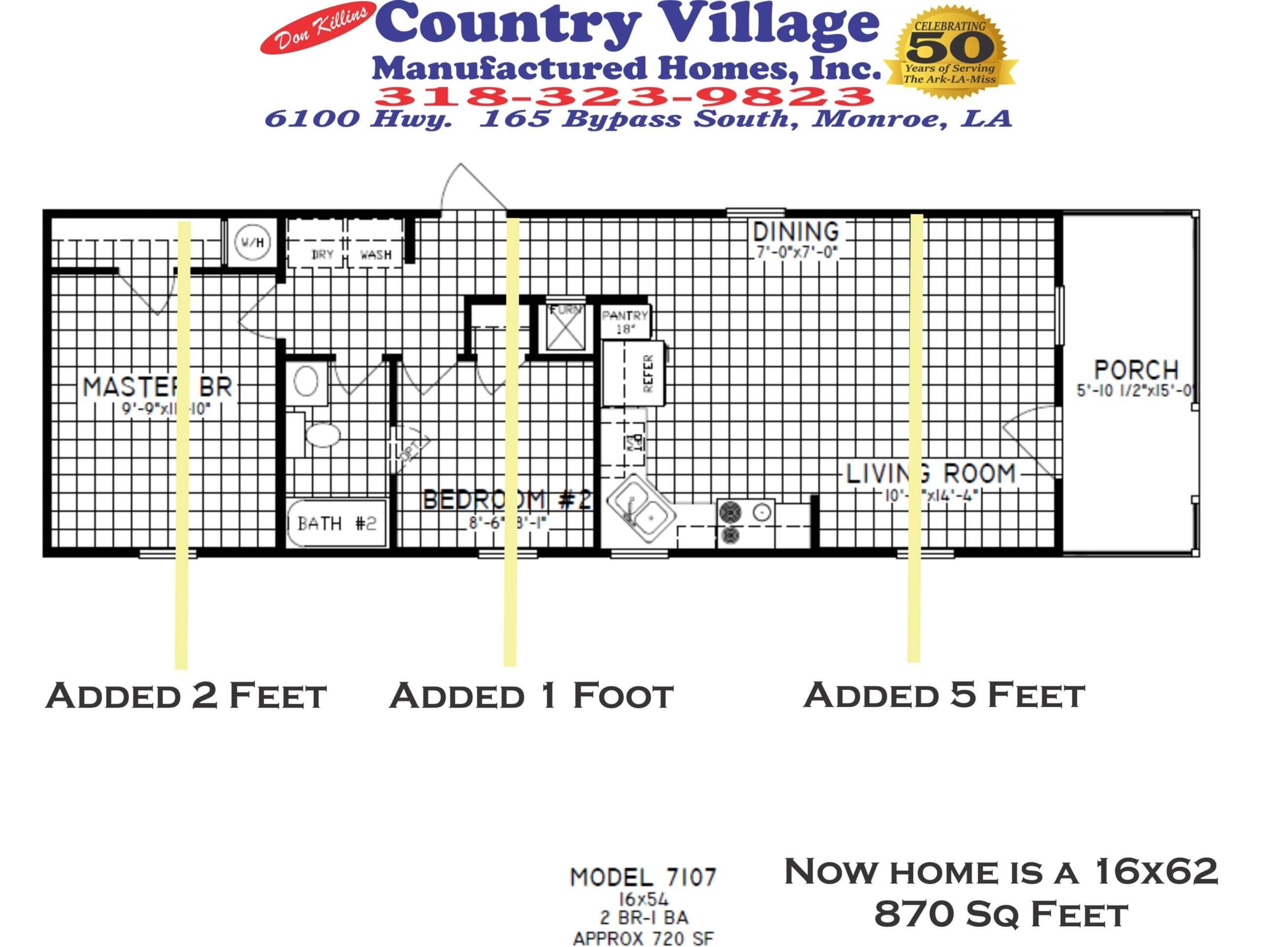 7107 Cottage 16x62 870 sq feet 2+1