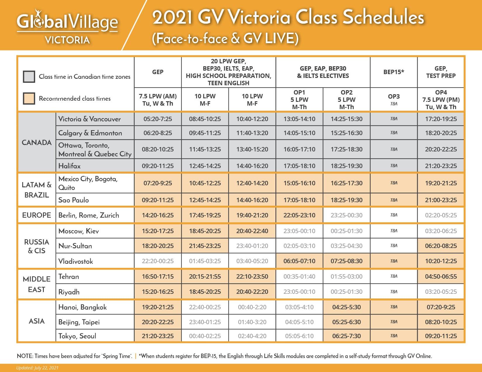 GV Victoria Class Schedule