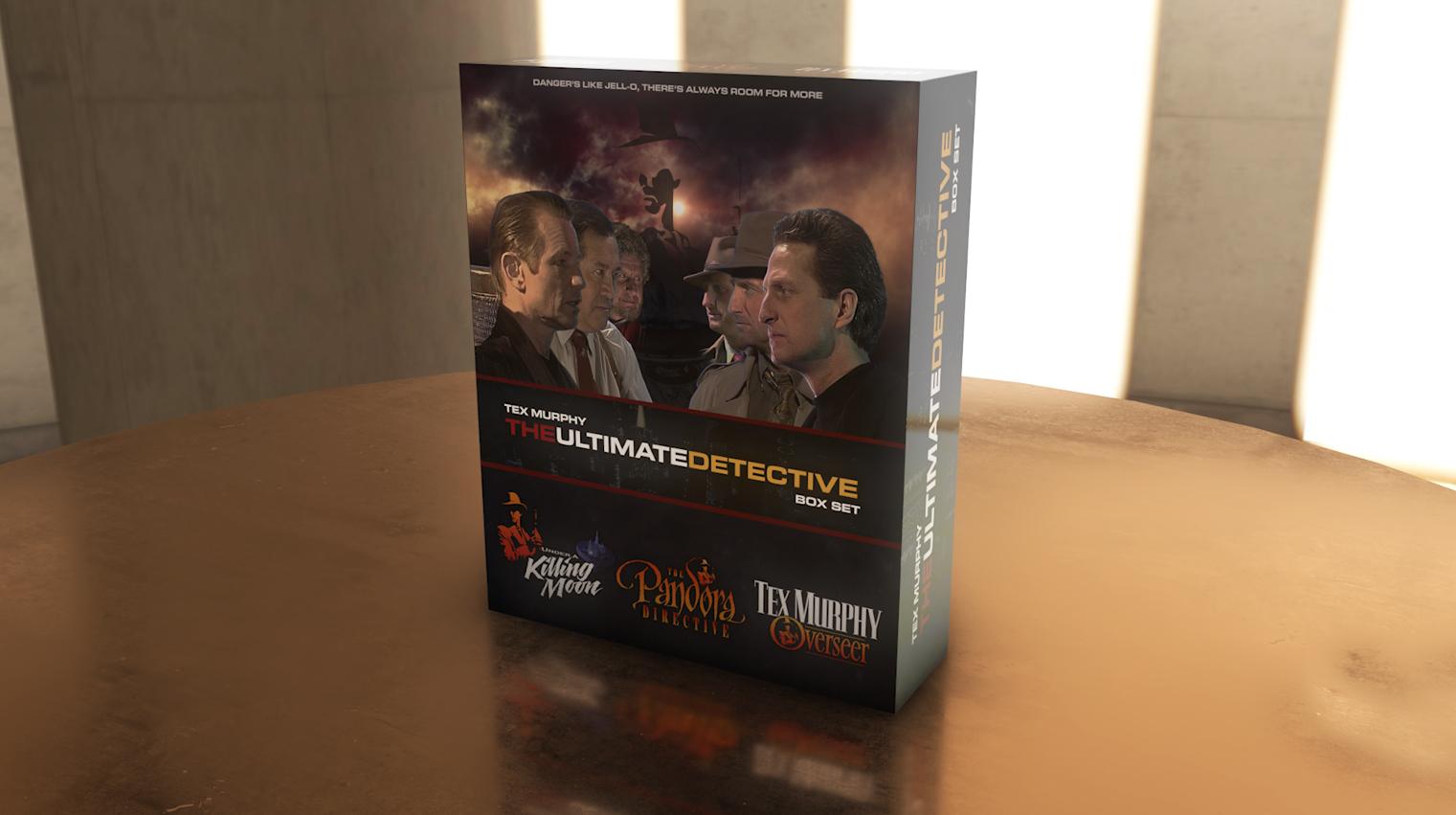 Tex Murphy, the Ultimate Detective Box Set artwork in 3D.