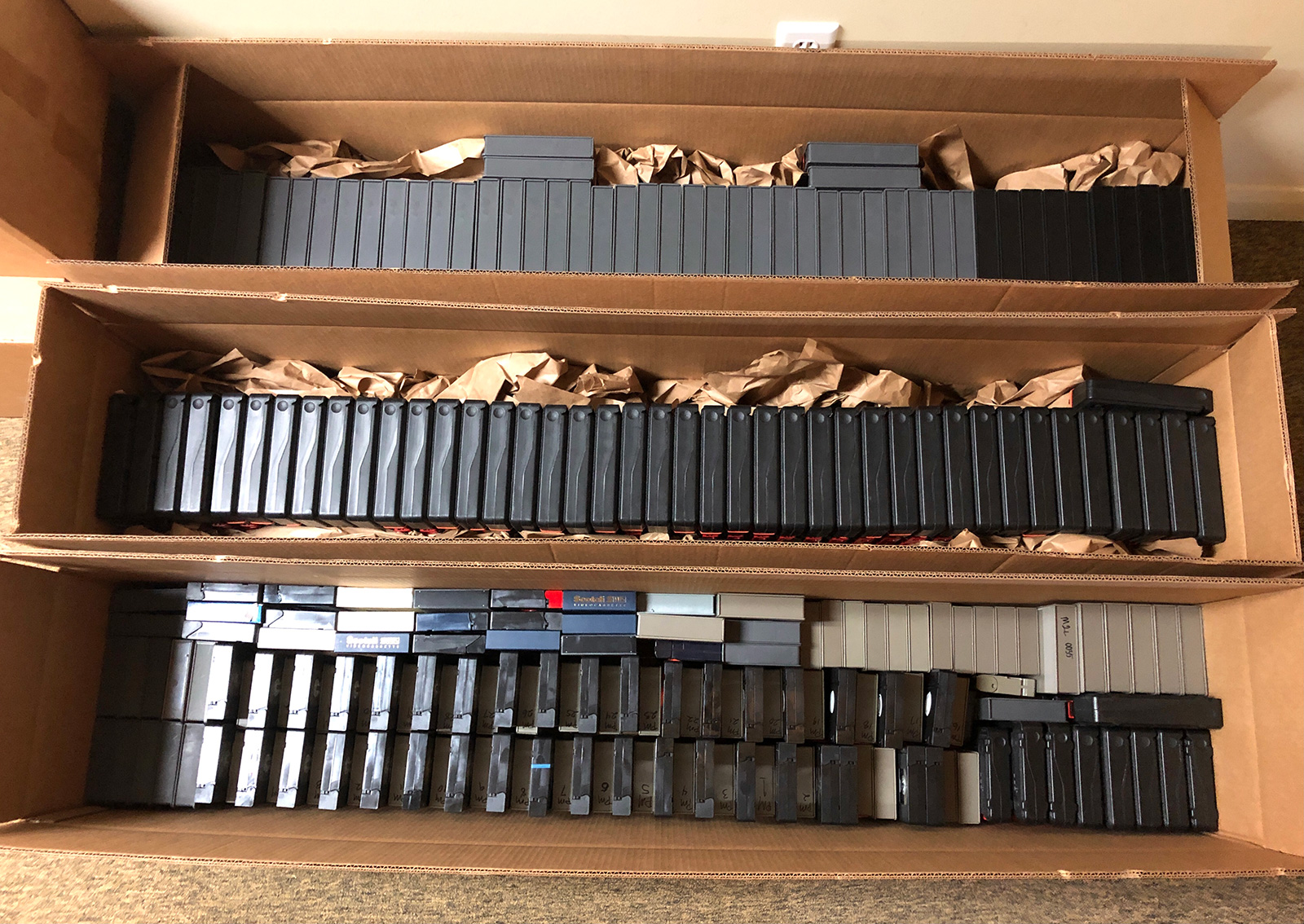 Boxes containing Tex Murphy video tapes