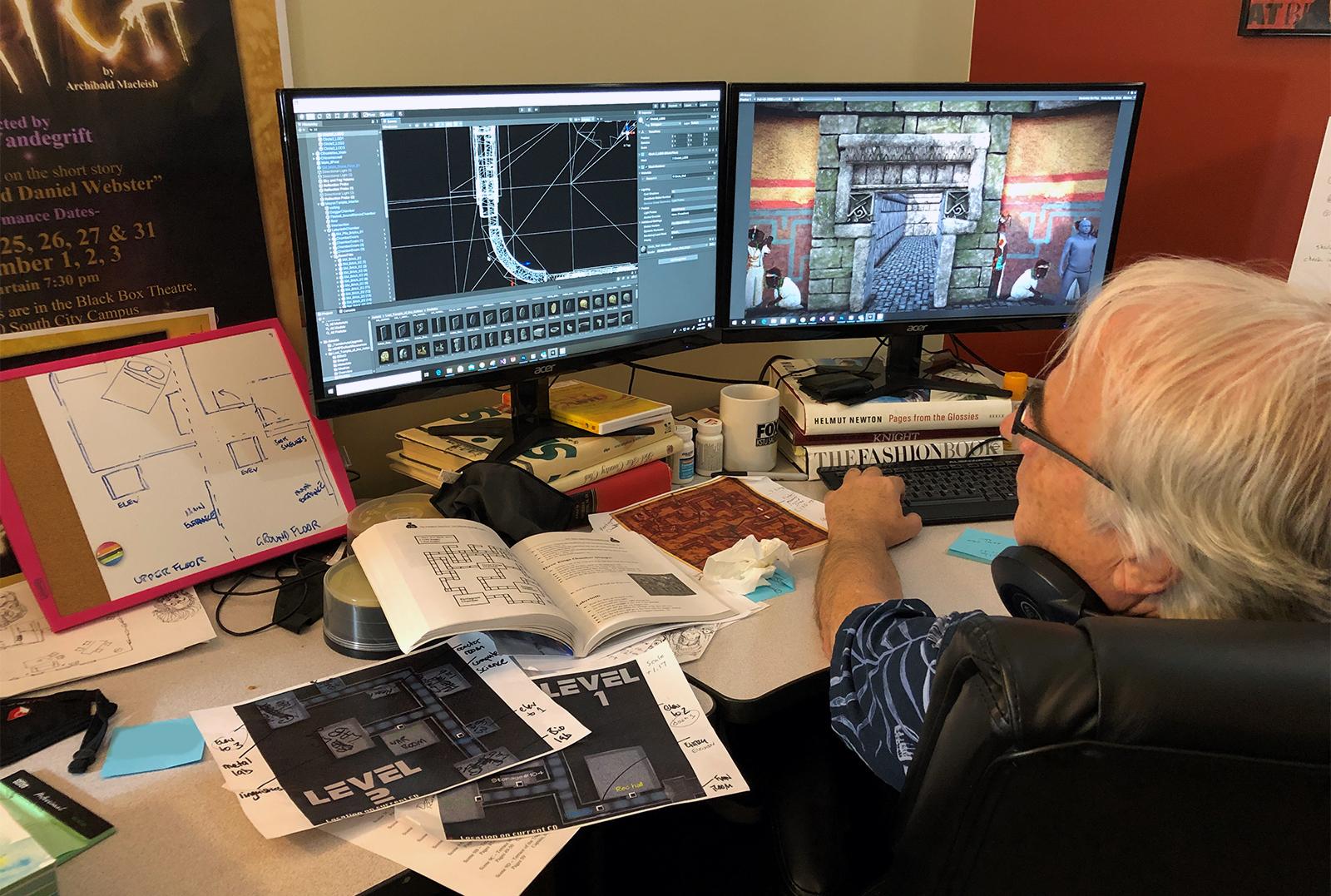 Doug Vandegrift working on level design.