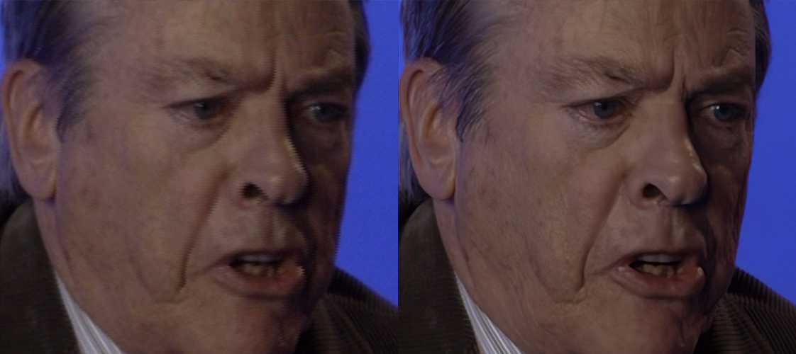 Comparison image of Gordon Fitzpatrick, showing before and after AI upscaling.