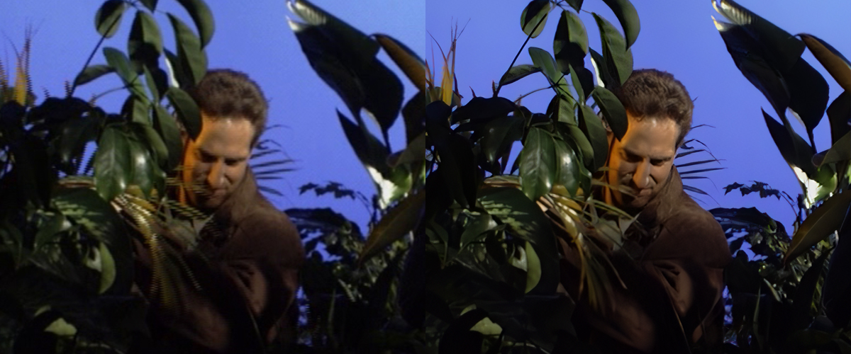 Comparison image of Tex Murphy, showing before and after AI upscaling.