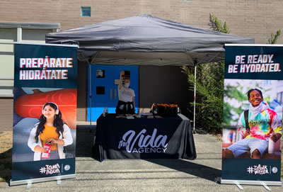 water bottle distribution booth