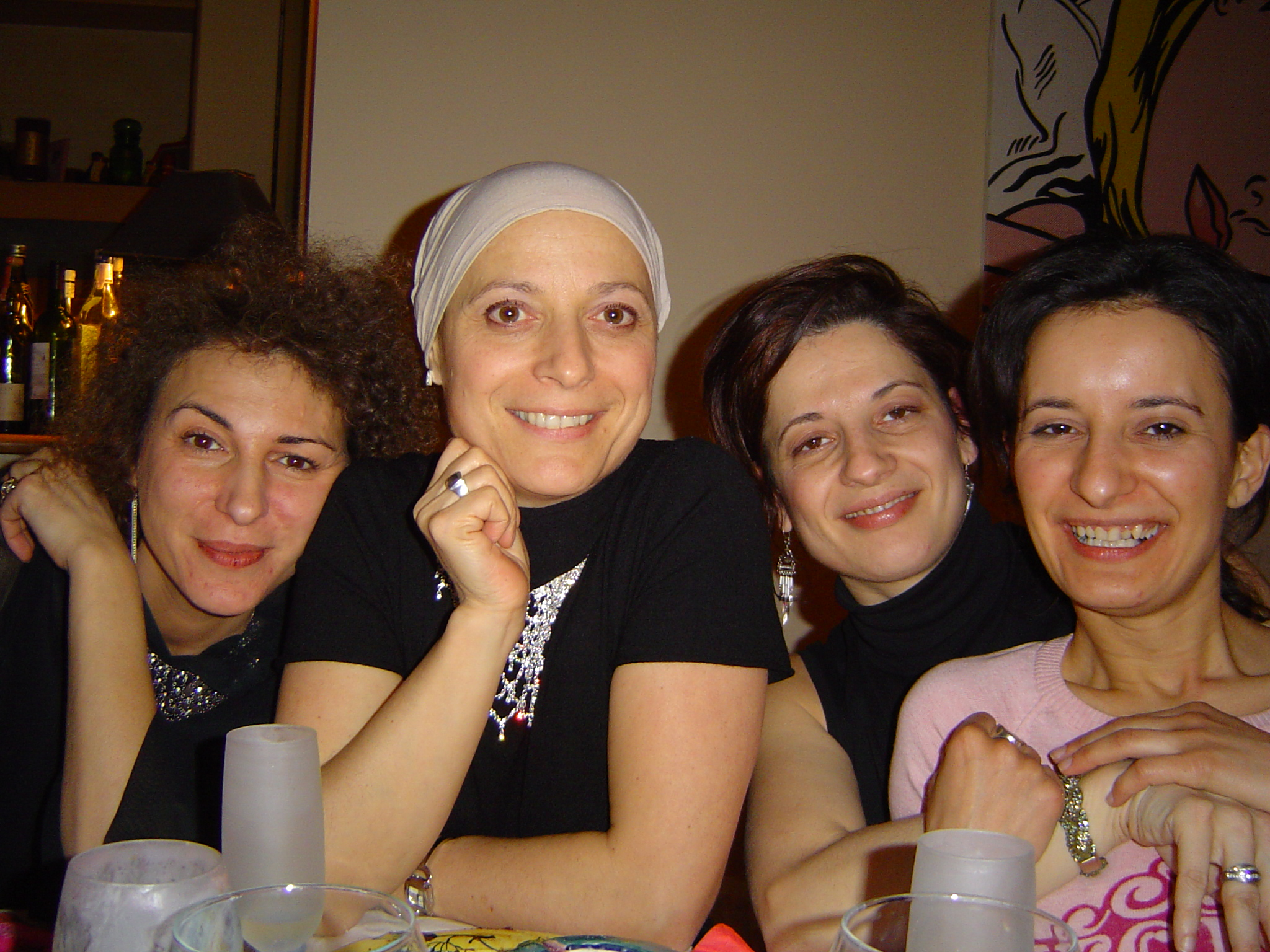 Paris. 2005. With my girlfriends Antonella van Rumund (to the left), and Carole Pean Mathurin and Laurence Brunet (to the right). A month or so into chemo after being diagnosed with my first breast cancer, and shortly after I first started practicing yoga.