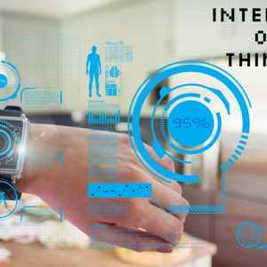 composite of hand with smartwatch and internet of things graphics