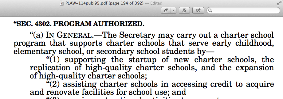 Federal law - ESSA - gives the Secretary of Education POWER!