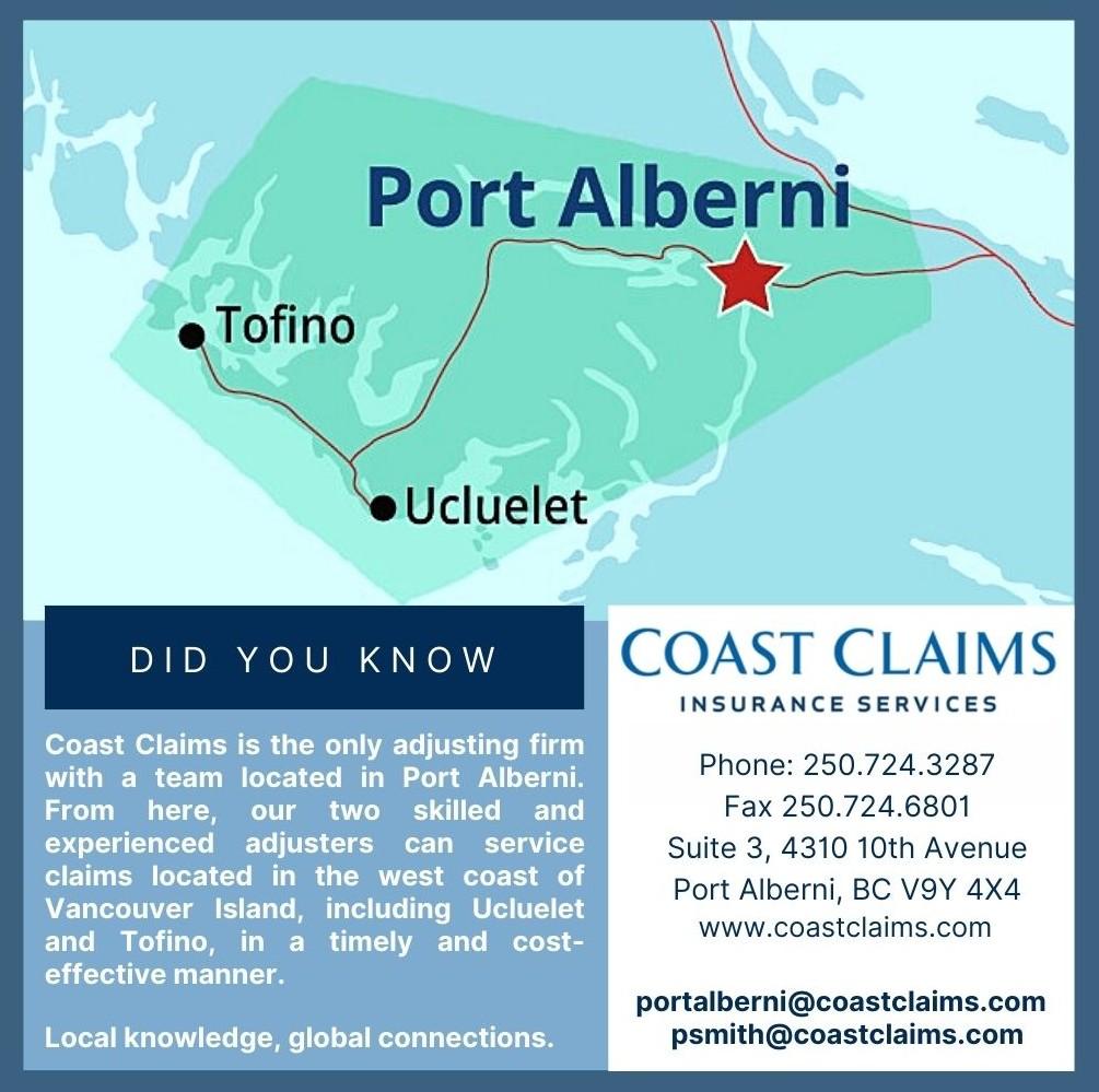Map of Port Alberni, Tofino, and Ucluelet.