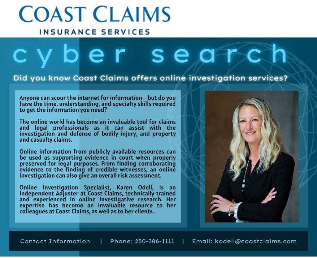 Coast Claims offers online investigative searches.