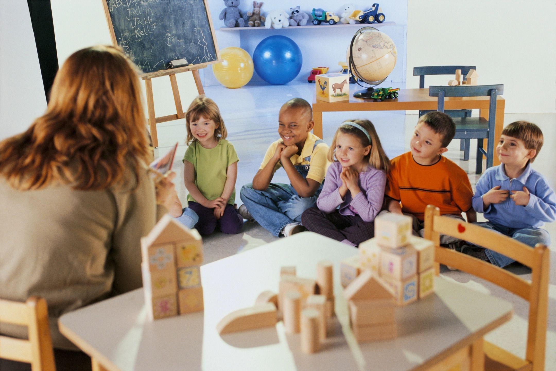 Teacher circle time with preschool children