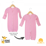Long sleeves baby night gown with fold over mitten