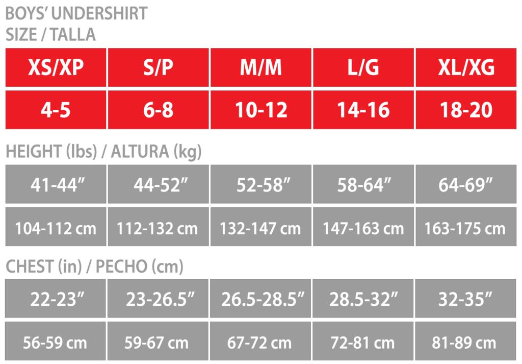 Sizing chart for boys' undershirts