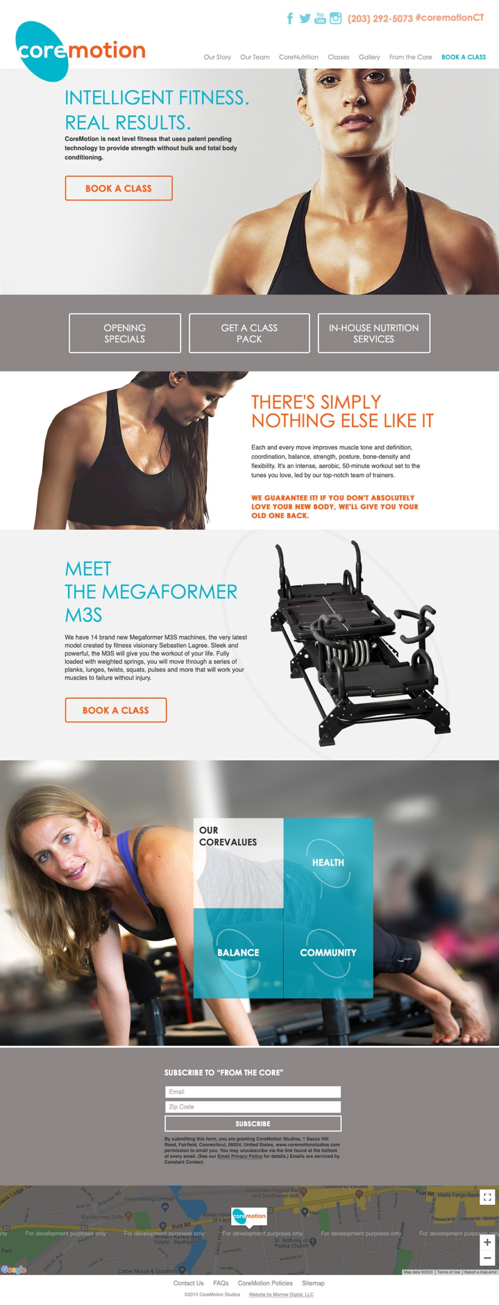 Core Motion Studios Home Page Layout