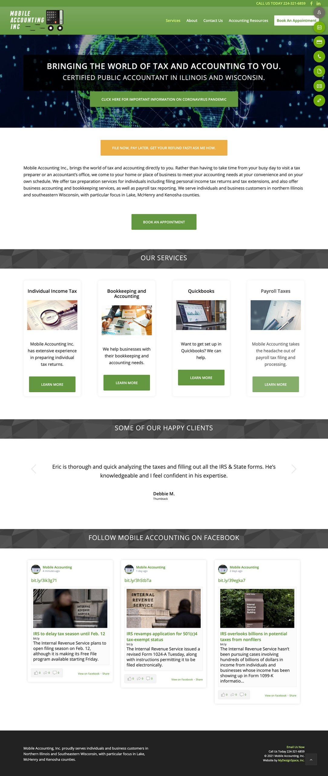 Mobile Accounting Home Page Layout