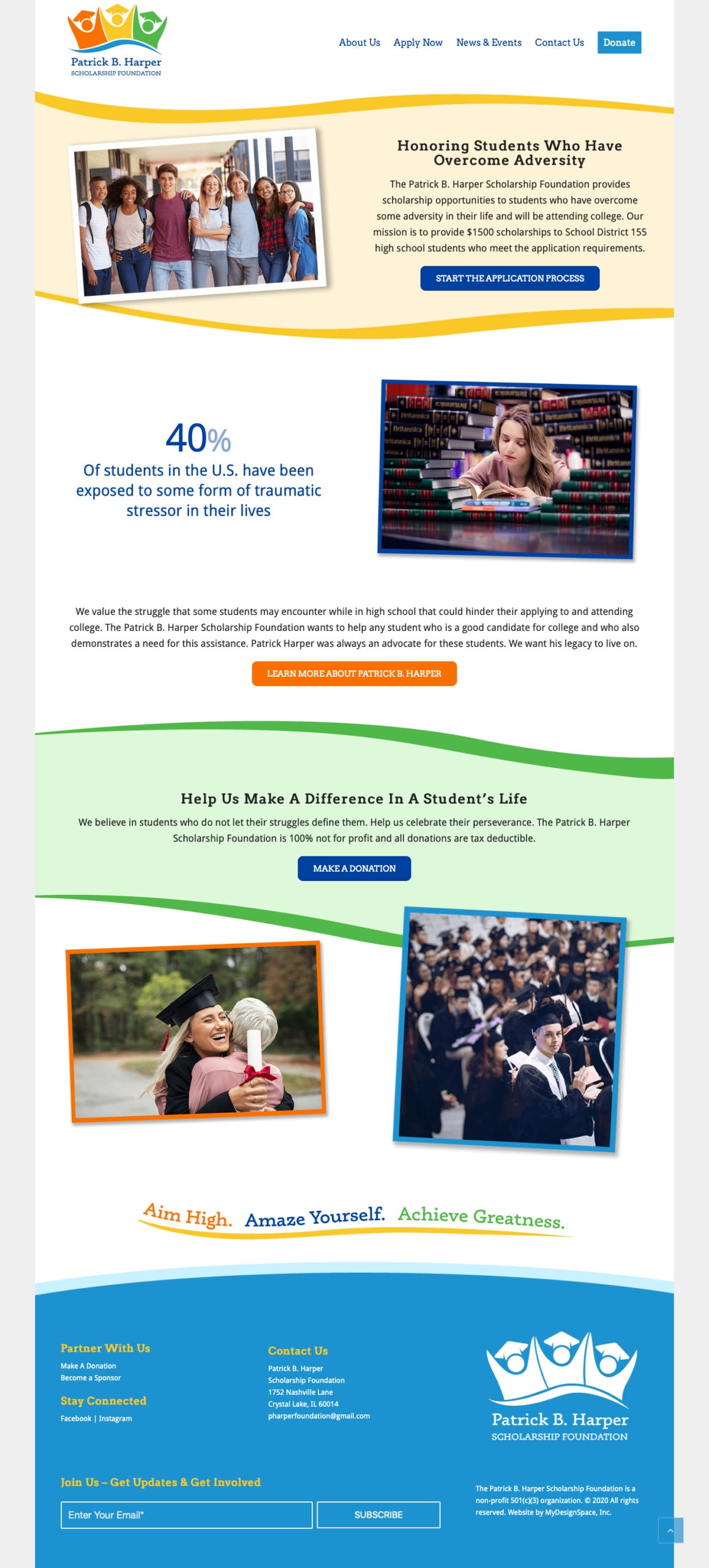 Patrick B. Harper Scholarship Foundation Home Page Layout