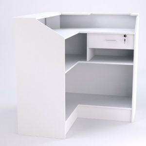Balcão caixa em L na cor branca