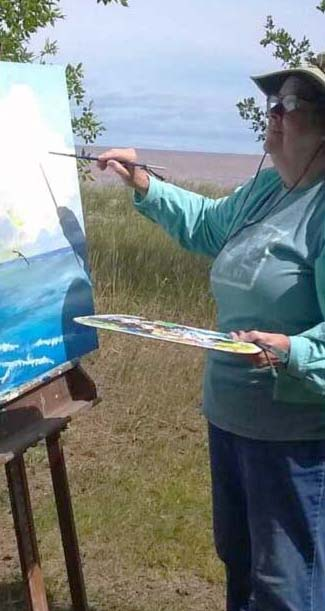 Painting on shore of Lake Superior