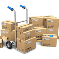 Heap of cardboard boxes with packaged goods and hand truck isolated on white background