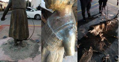 Escultura de la niña con la cuerda ni robada, ni perdida… sólo en reparación