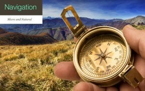 Man holding compass with mountains in background