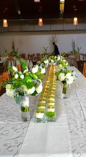 Courtney and Matt Reception Flowers and Candle Table Design