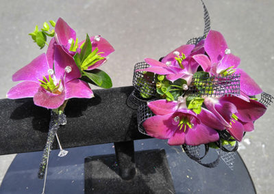 Prom Corsage and Boutonniere Purple Green