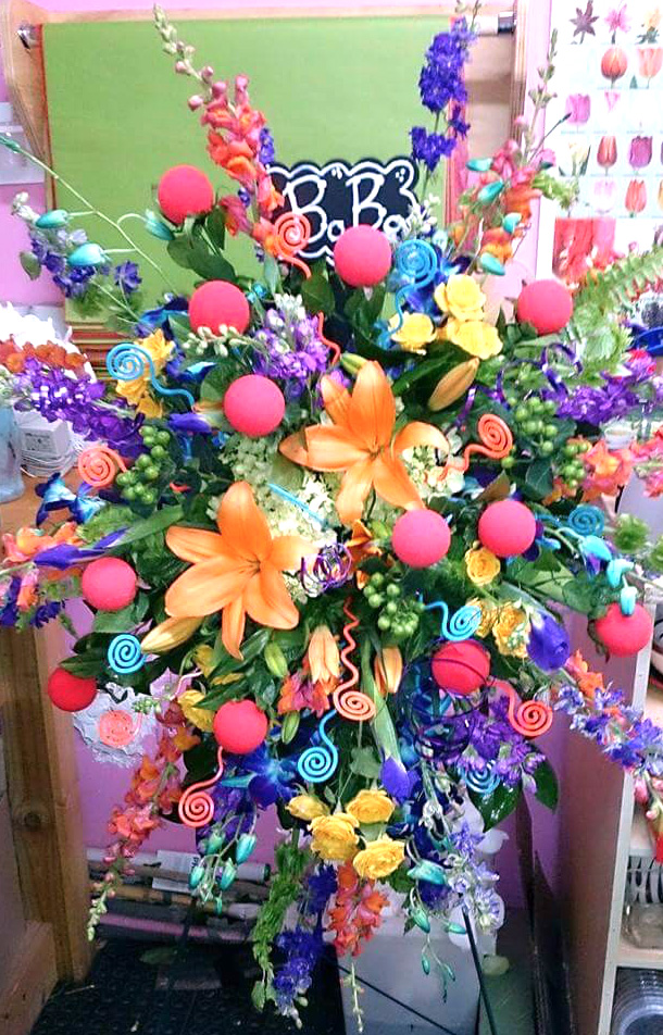 Standing Spray Arranngement Colorful Sympathy Floral