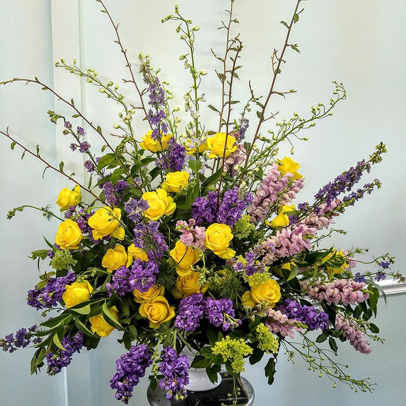 Sympathy Arrangement Yellow and Purple in Vase