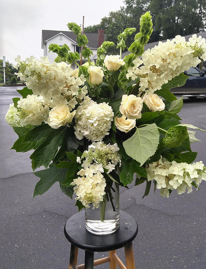 Sympathy Arrangement in Vase White Flowers