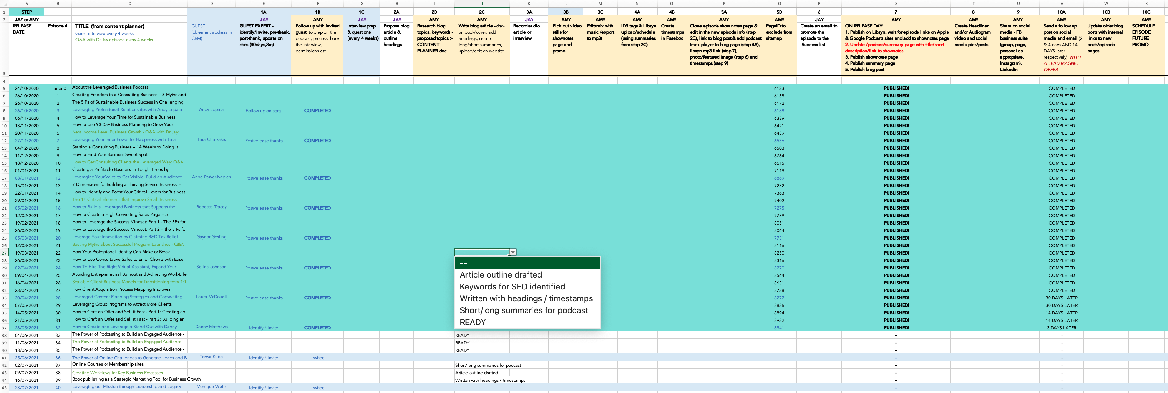 podcast production planning workflow spreadsheet screenshot