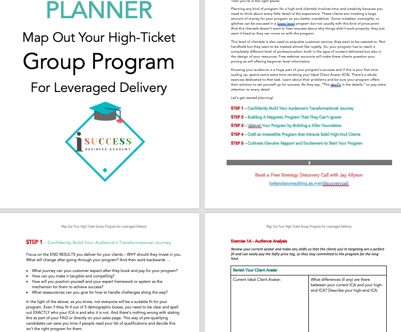 Planning High End Group Programs – Creating a First-Rate Customer Experience