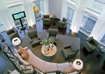 Liberty national living room designed by interior designer from NYC Vicente Wolf