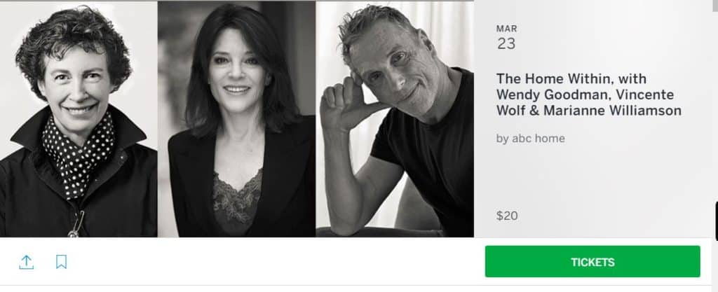 ABC Home Event with Wendy Goodman and Marianne Williamson