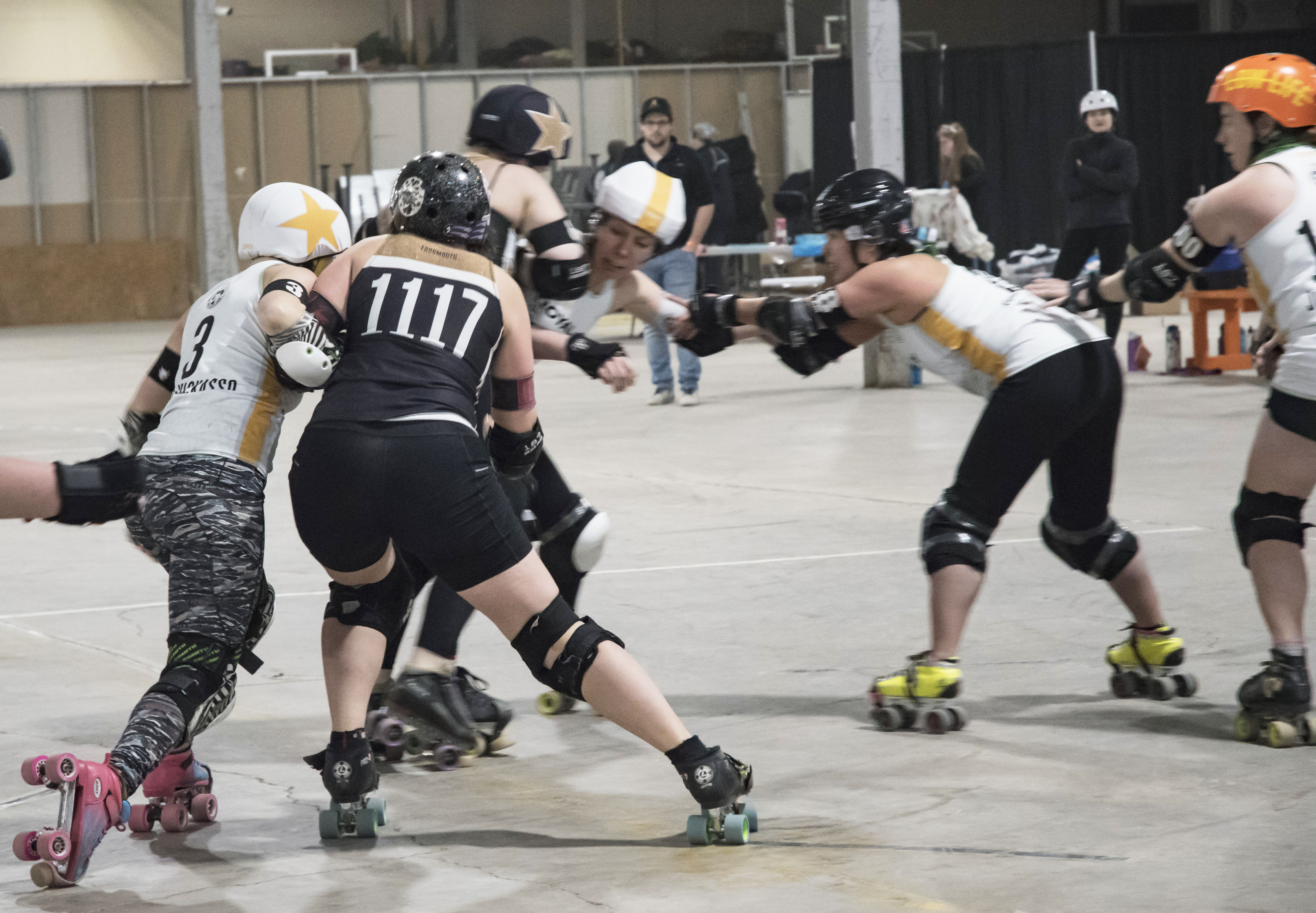 """Pablo Kickasso pushing hard; Swedish Meatbrawl, Snack Dragon, And Just DezHurts maintain the wall Image courtesy of Meg """"Meh G'Byte"""" Reed of Bloomington, Indiana"""