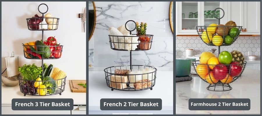 2 or 3 tier French or Farmhouse wire basket